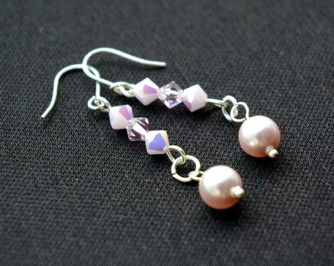 Handmade Beaded Crystal Earring (Pink Lady)