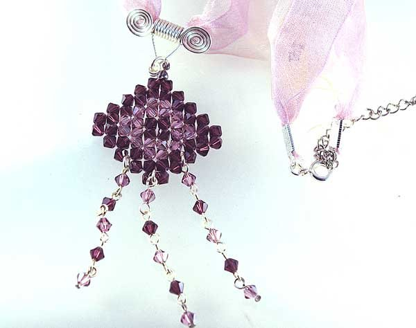 Handmade Crystal Beads Wire Necklace (Dusty Rose)