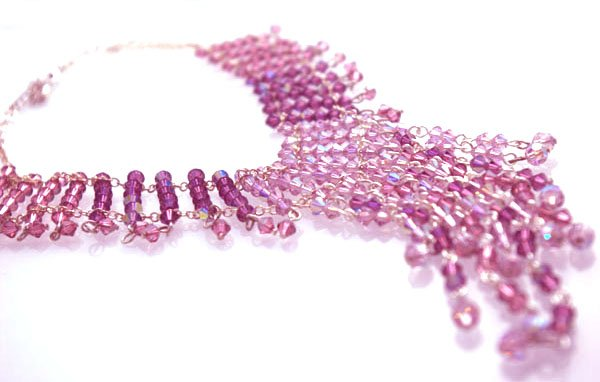 Handmade Crystal Beads Wire Necklace (Pink Flamingo)