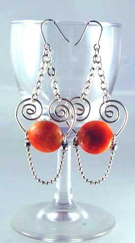 Handmade Wire Earrings ( Setting Sun )