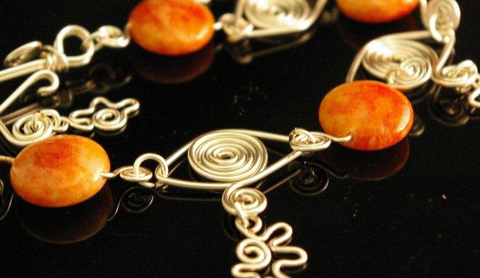 Handmade Wire Braclet with Lamp work & Bali Beads (Lemon)