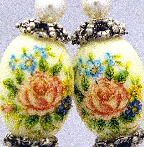 Handmade hand painted Earrings with Bali Beads (Rose Garden)