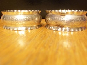 English Sterling Silver Napkin Rings-Pair