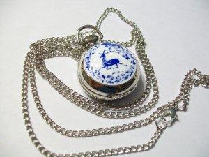 Womens/Girls Silver Deer Watch Pendant Necklace