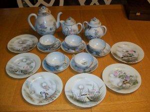 Antique Japanese 19pc Hand Painted Tea Set