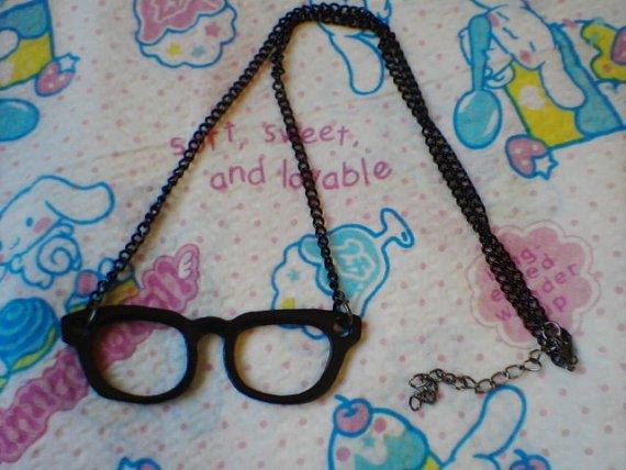 Black Nerd Geek Glasses Retro Necklace Kawaii Lolita Cute