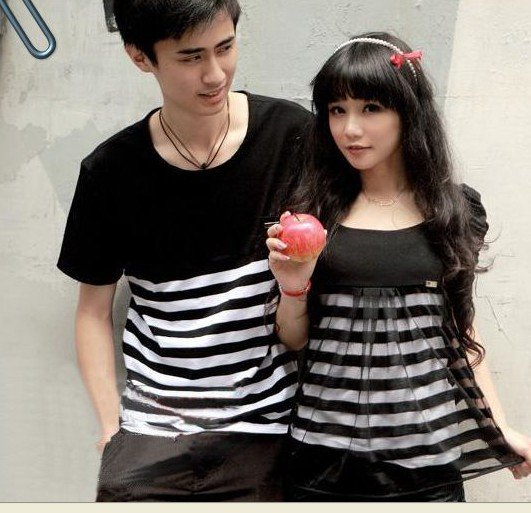 Kawaii Cute Couple T Shirts Black And White Striped Lovers Harajuku Lolita Tokyo Japan Match