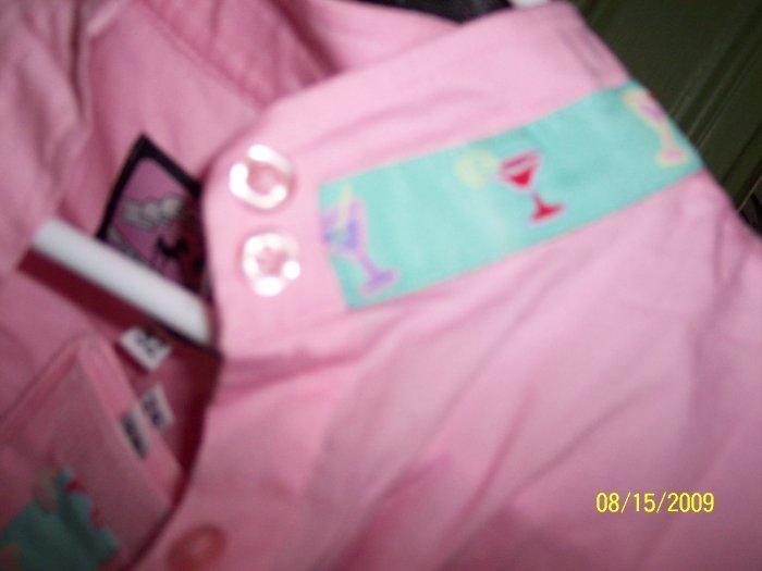 Pink w/ Martini Trim Long Sleeve Ratcatcher - Size 32 NEW