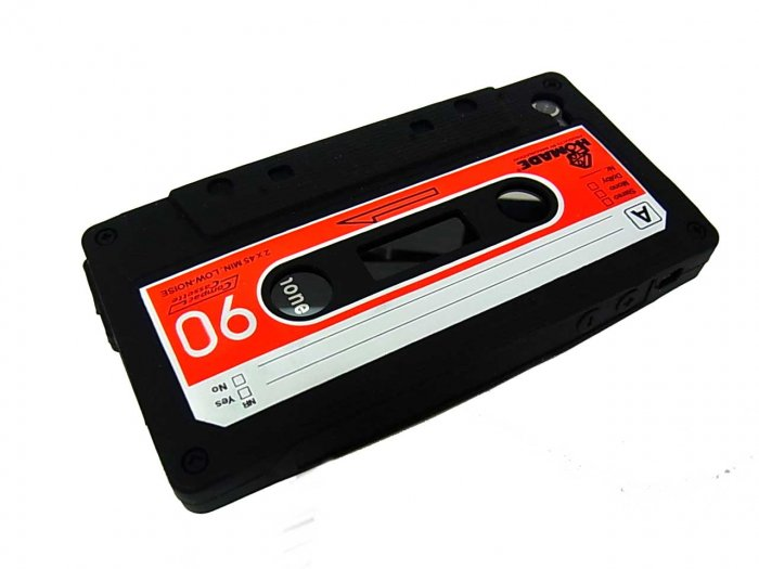 Cassette Tape Silicone Skin Case Cover for Apple iPhone 4 4G 4S Black