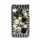 Bling Rhinestone Black Heart Flower Pearl Hard Case Cover for Apple iPhone 4 4G 4S