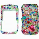 Bling Rhinestone Crystal Red Heart Case Cover for Blackberry 9700 9780 Bold B001