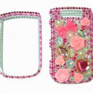 Bling Rhinestone Crystal Pink Heart Flower Case Cover for Blackberry 9800 Torch B004