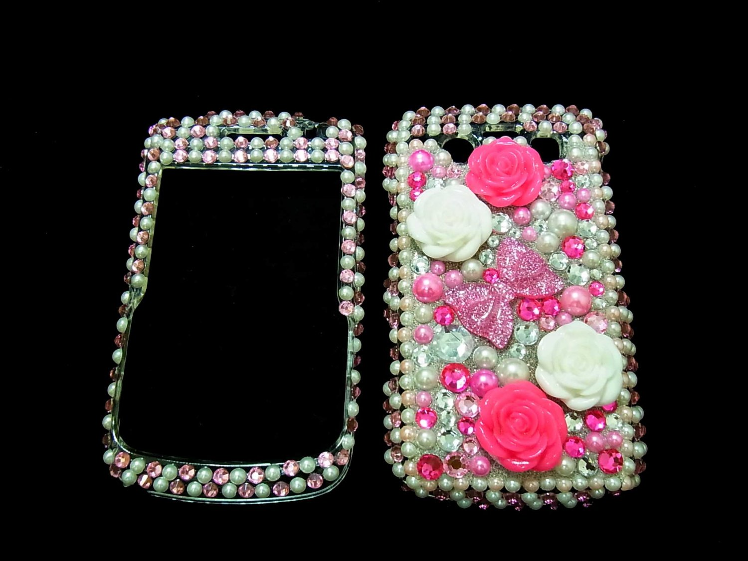 Bling Rhinestone Crystal Pink Flower Ribbon Case Cover for Blackberry 9700 9780 Bold