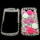 Bling Rhinestone Crystal Pink Flower Ribbon Case Cover for Blackberry 9700 9780 Bold