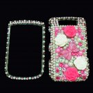 Bling Rhinestone Crystal Pink Flower Ribbon Case Cover for Blackberry 9800 Torch B005