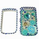 Bling Rhinestone Crystal Blue Flower Heart Case Cover for Blackberry 9800 Torch