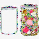Bling Rhinestone Crystal Colorful Flower Case Cover for Blackberry 9800 Torch MF