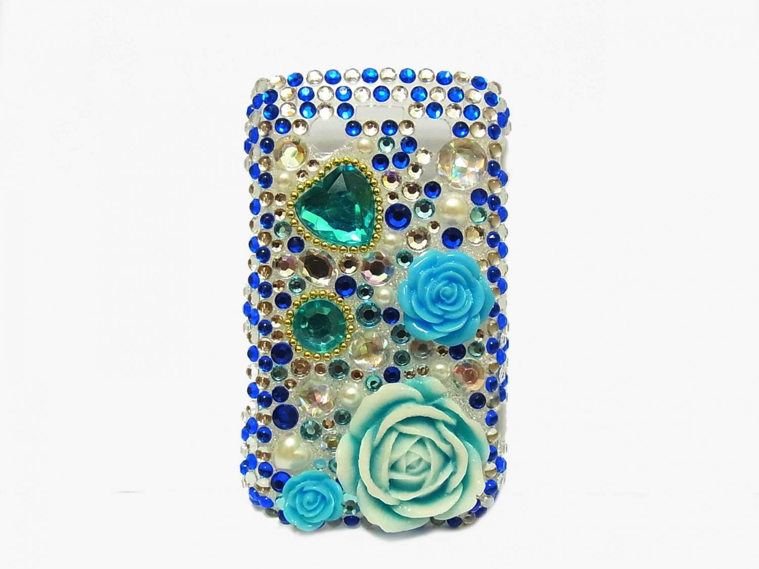 Bling Rhinestone Crystal Blue Flower Heart Case Cover for Blackberry 8520 8530 Curve