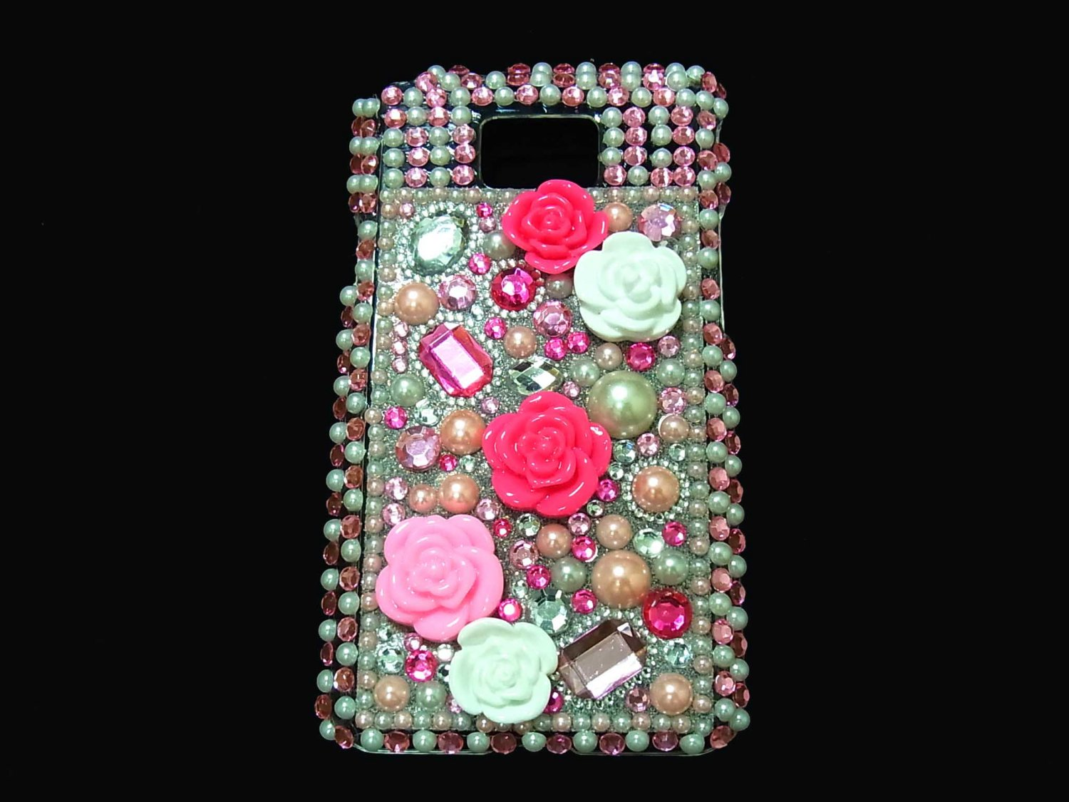 Bling Rhinestone Crystal Pink Flower Case Cover for Samsung i9100 Galaxy S 2 II