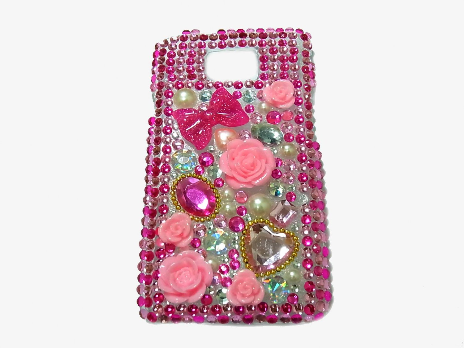 Bling Rhinestone Crystal Dark Pink Flower Case Cover for Samsung i9100 Galaxy S 2 II