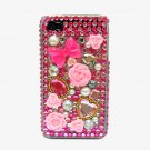 Bling Rhinestone Crystal Dark Pink Flower Hard Case Cover for Apple iPhone 4 4G 4S