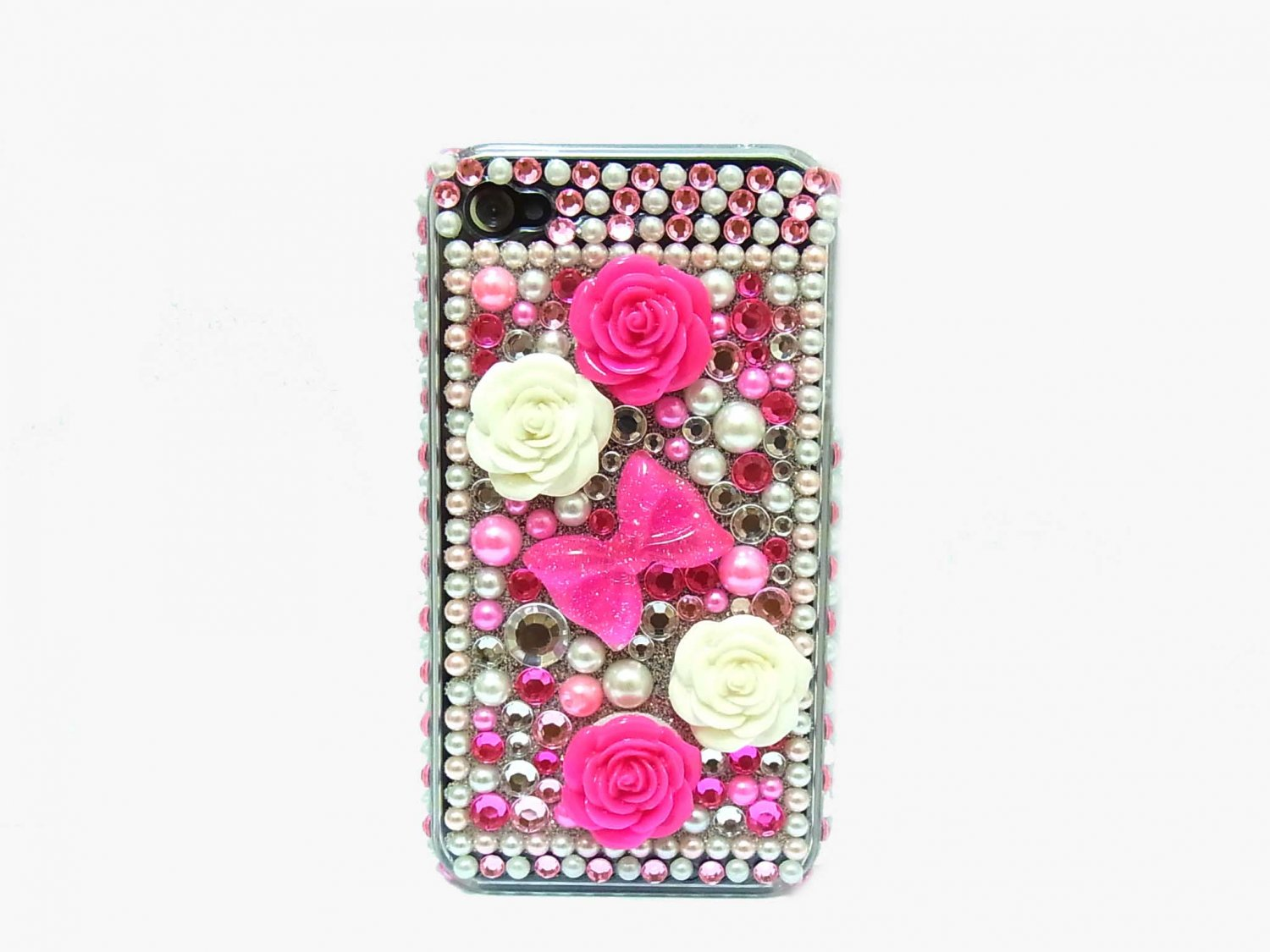 Bling Rhinestone Crystal Pink Ribbon Flower Hard Case Cover for Apple iPhone 4 4G 4S
