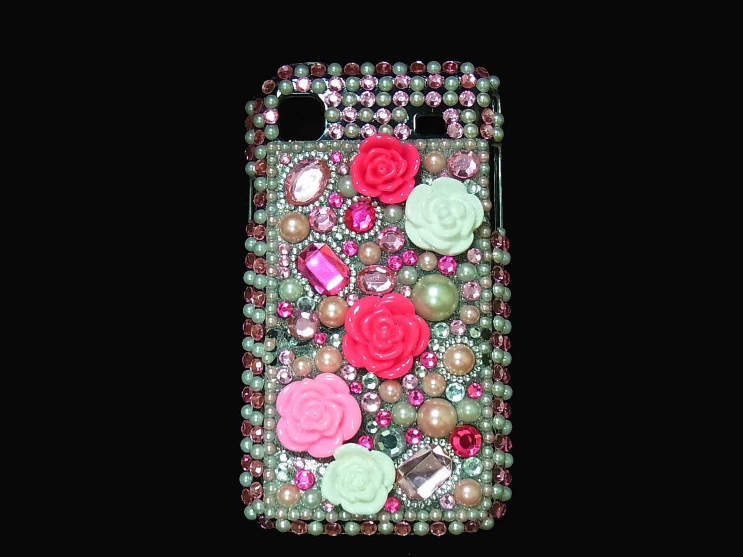 Bling Rhinestone Crystal Pink Flower Case Cover for Samsung i9000 Galaxy S LP