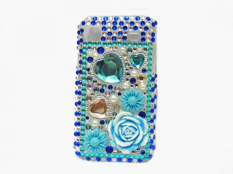 Bling Rhinestone Crystal Blue Flower Case Cover for Samsung i9000 Galaxy S