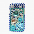 Bling Rhinestone Crystal Blue Flower Case Cover for Samsung i9000 Galaxy S