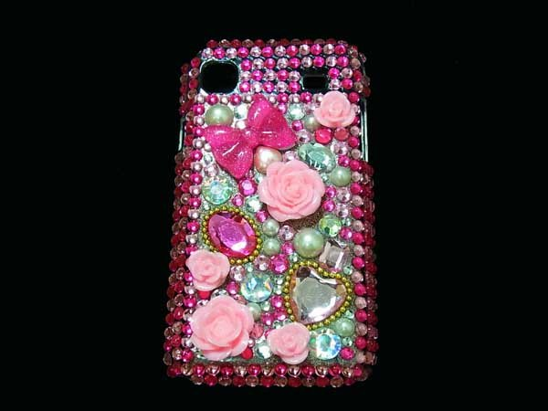 Bling Rhinestone Crystal Dark Pink Flower Case Cover for Samsung i9000 Galaxy S DP