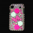 Bling Rhinestone Crystal Pink Ribbon Flower Case Cover for Samsung i9000 Galaxy S