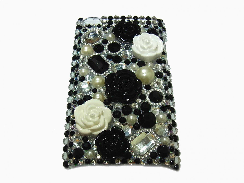 Bling Rhinestone Crystal Black Flower Hard Case Cover for Apple iPod Touch 4 4G 4th Gen