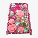 Bling Rhinestone Crystal Dark Pink Flower Heart Hard Case Cover for Apple iPod Touch 4 4G 4th Gen