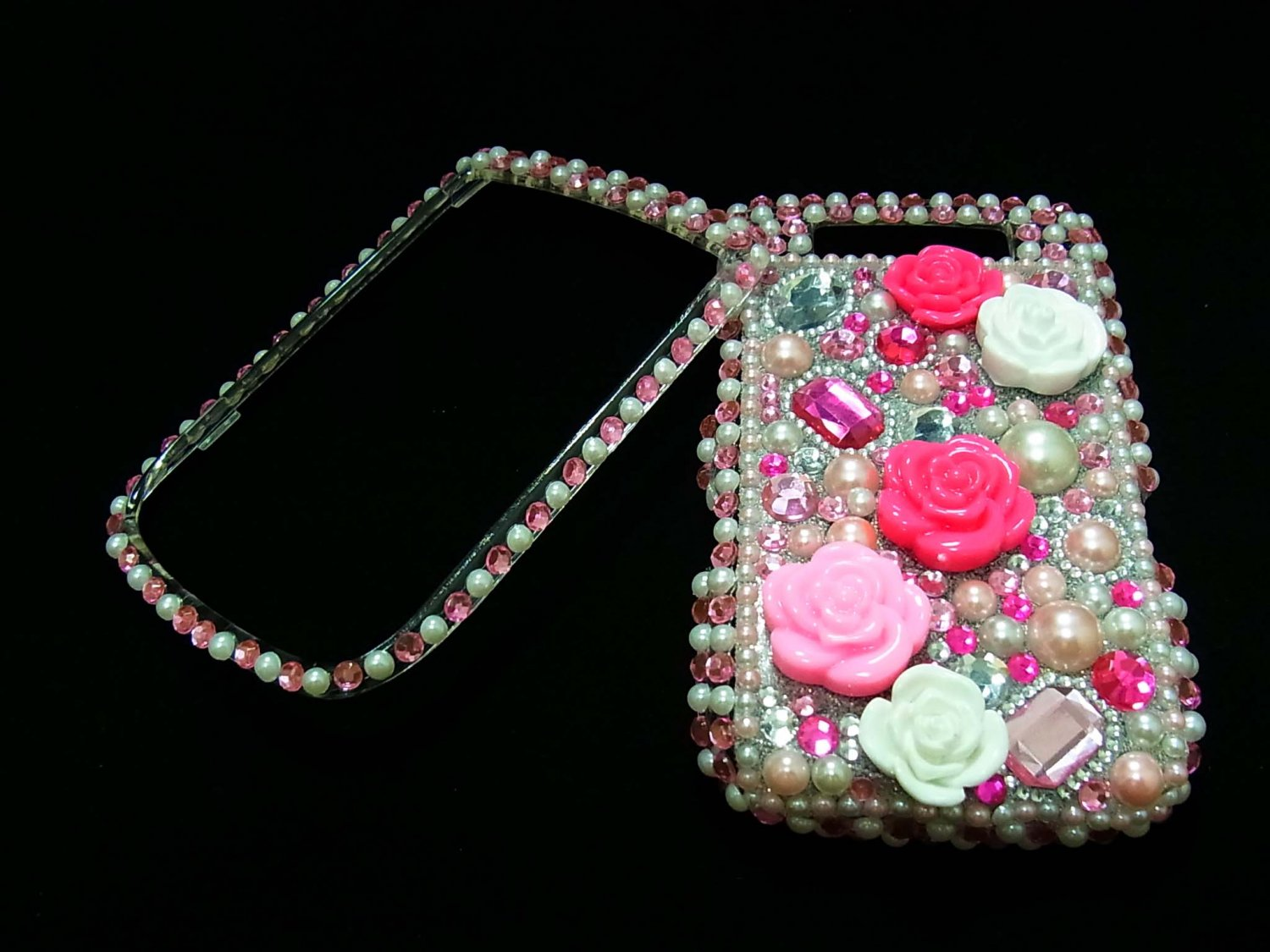 Bling Rhinestone Crystal Pink Flower Case Cover for Blackberry 9800 Torch LP