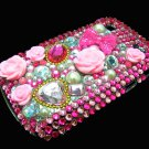 Bling Rhinestone Crystal Pink Flower Heart Case Cover for Blackberry 9900 9930 Bold DP