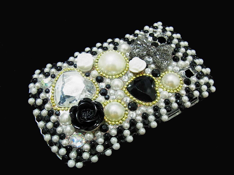 Bling Rhinestone Crystal Black Flower Pearl Heart Case Cover for Blackberry 9900 9930 Bold BH
