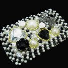 Bling Rhinestone Crystal Black Flower Pearl Heart Case Cover for Blackberry 9900 9930 Bold BH