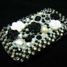 Bling Rhinestone Crystal Black White Flower Case Cover for Blackberry 9900 9930 Bold FB