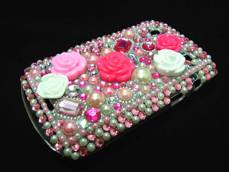 Bling Rhinestone Crystal Pink Flower Case Cover for Blackberry 9900 9930 Bold LP