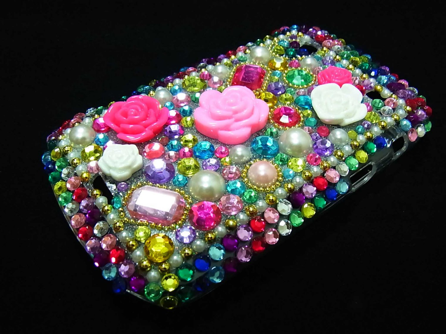 Bling Rhinestone Crystal Colorful Flower Pearl Case Cover for Blackberry 9900 9930 Bold MF