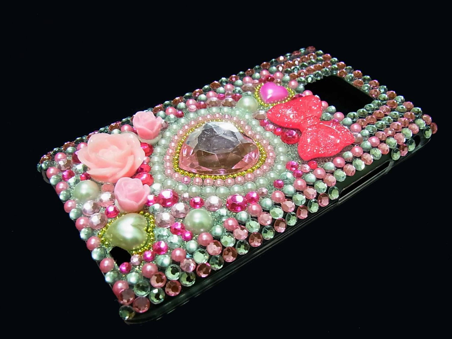 Bling Rhinestone Crystal Pink Heart Flower Pearl Case Cover for Samsung i9100 Galaxy S 2 II