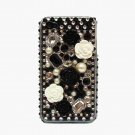 Bling Rhinestone Black White Flower Hard Case Cover for Apple iPhone 4 4G 4S FB