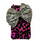 Bling Crystal Velvet Leopard Pink Ribbon Silver Bow Back Case Cover for Apple iphone 4 4G 4S BB