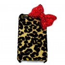 Bling Crystal Velvet Leopard Gold Red Bow Ribbon Back Case Cover for Apple iphone 4 4G 4S A1b