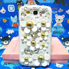 Bling Rhinestone Crystal Daisy Flower Pearl White Case Cover for Samsung i9300 Galaxy S3 SIII