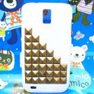 Brass Bronze Pyramid Stud White Case Cover for Samsung T989 Hercules Galaxy S2 SII T-Mobile BL6P
