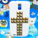 Cross Bronze Pyramid Stud White Hard Case Cover for Samsung T989 Hercules Galaxy S2 SII T-Mobile