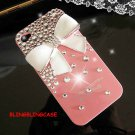 Bling Crystal Pearl White Bow Ribbon Back Case Cover for Apple iphone 5 5G