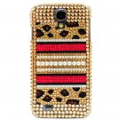 Bling Crystal Leopard Pearl Gold Hard Case Cover For Samsung i9500 Galaxy S4