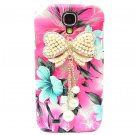 Bling Crystal Pearl Bow Flower Pink Hard Case Cover For Samsung i9500 Galaxy S4 BW